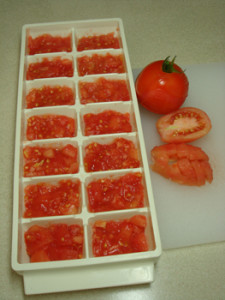 Freezing Tomatoes in Ice Cube Trays