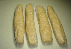Four Cookie Dough Logs Ready to Refrigerate