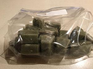 Eggplant ice cubes in freezer bag