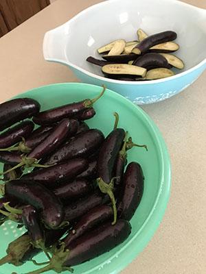 Eggplant in Colander